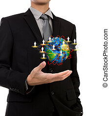 Business man holding the small world of social network in...