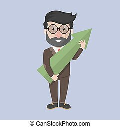 Business man holding up big arrow