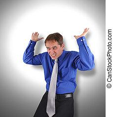 Business Man Holding Up Stress Weight