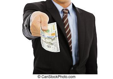business man holding us dollar money. isolated on white