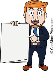 Business man holding white paper