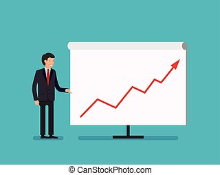 Business Man holding whiteboard - presentation flat style cartoon.