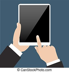 Business man holds and manages tablet computer with white blank screen. Using digital tablet pc.
