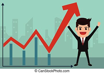 Business man holds in hand to raise the graph.