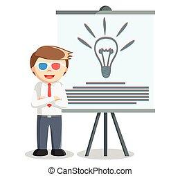 Business man idea presentation