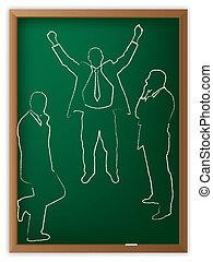 Business man illustrated on blackboard