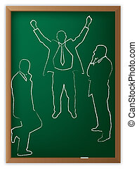 Business man illustrated on blackboard