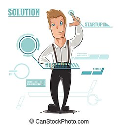 Business Man illustration Cartoon Startup Vector