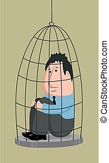 Business man in a cage