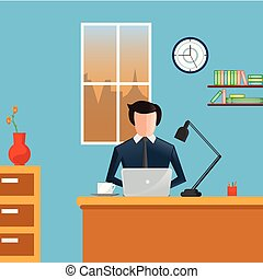 Business man in a suit working on a laptop computer at office desk. Office workplace. Business concept - Vector flat illustration.