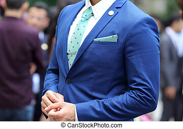 business man in blue suit