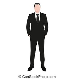 Business man in dark suit and black tie standing with hands in pockets. Front view, abstract vector flat illustration