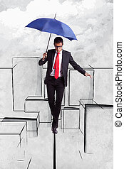 Business man in equilibrium over illustrated city - Business...