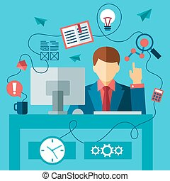 business man in formal suit sitting at the desk and working...