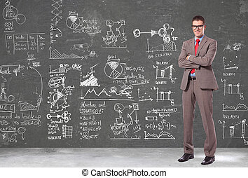 business man in front of a wall with big plans