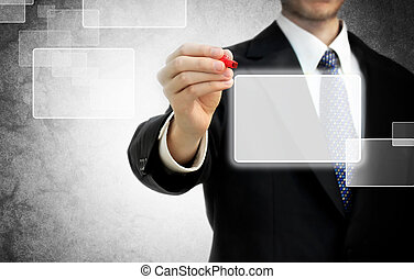 Business man in front of touch screen