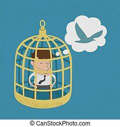 Business man in golden bird cage