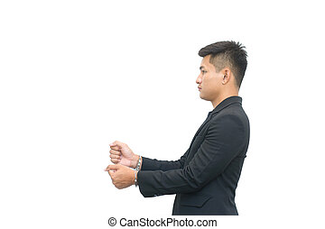 Business man in handcuffs isolated on white background. Arrest steal money conceptual.