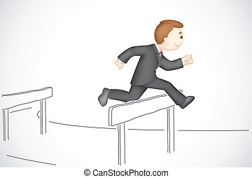 Business Man in Hurdle Race - illustration of 3d business...
