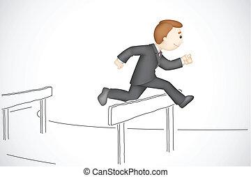 illustration of 3d business man in vector running in hurdle