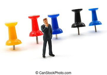 business man in office - business man and push pin in a...