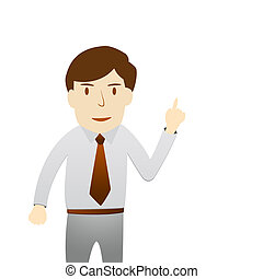 Business man in present act on white background