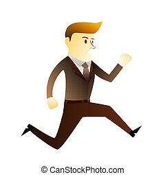 Business man in running act on white background