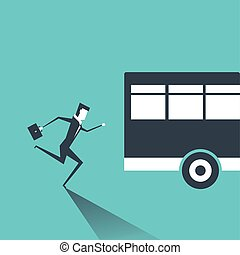 Business man in suit is running after outgoing bus.