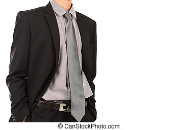 Business man in suit on a white background