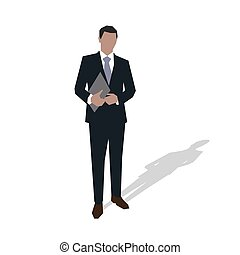 Business man in suit standing and holding hands documents. Vector illustration, flat design