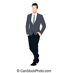 Business man in suit walking with hands in his pockets, abstract vector illustration