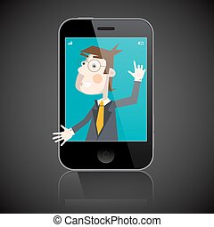 Business Man in Telephone - Man to Shake Hand Inside Abstract Cell Phone Vector Illustration
