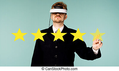 Business man in virtual glasses giving Five stars rating concept about positive customer feedback and review, excellent performance