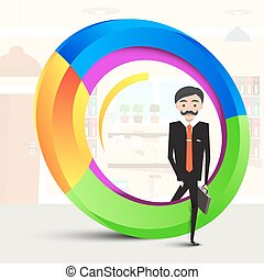 Business Man Inside Abstract Colorful Shape. Man in Suit Stepping Over Circle. Vector  Success Symbol.