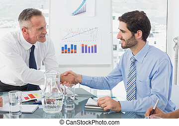 Business man introducing new employee