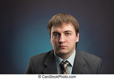 Business man isolated on gray background