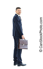 Business man isolated on white. Side view.