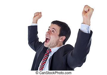 Business man jubilates with raised arms and clenched fists. ...