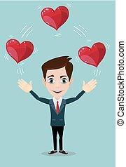 Man juggling hearts .