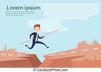 Business Man Jump Dangerous Mountain Gap Risk Concept