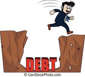 Business man jump over debt
