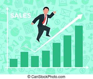 Business man jump over growth graph.