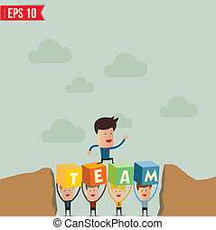 Business man jump over the hill - Vector illustration - ...