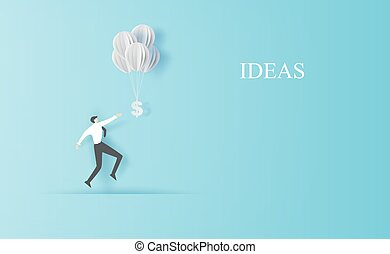 Business man Jump to hold money balloons. Creative paper cut and craft style. People finance success concept. Graphic minimal simple management information idea space for your text. vector illustration