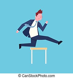 Business Man Jumping Over Obstacle Successful Office Worker Character Businessman Corporate Isolated