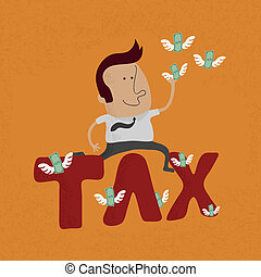 Business man jumping over the tax