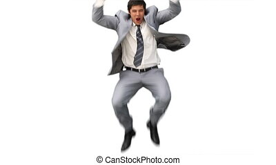 Business man jumping up and down in joy