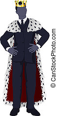Illustration of a business man king in business suit with royal cape and crown.