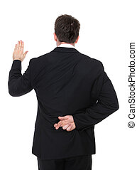 Business Man Liar - A business man lying while taking an...