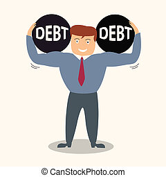 business man lift up ton of debt